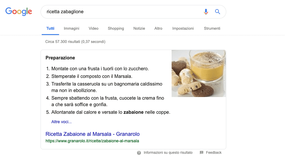 Google | Esempio Featured Snippet Numbered List