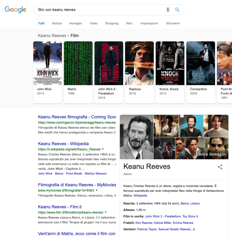 Google | Esempio Knowledge Graph