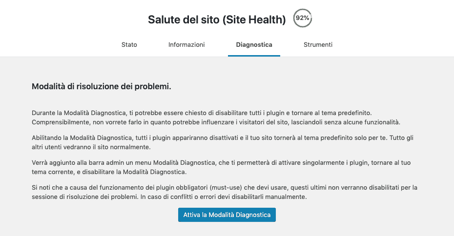 Site Health di WordPress 5.2 | Health Check Diagnostica