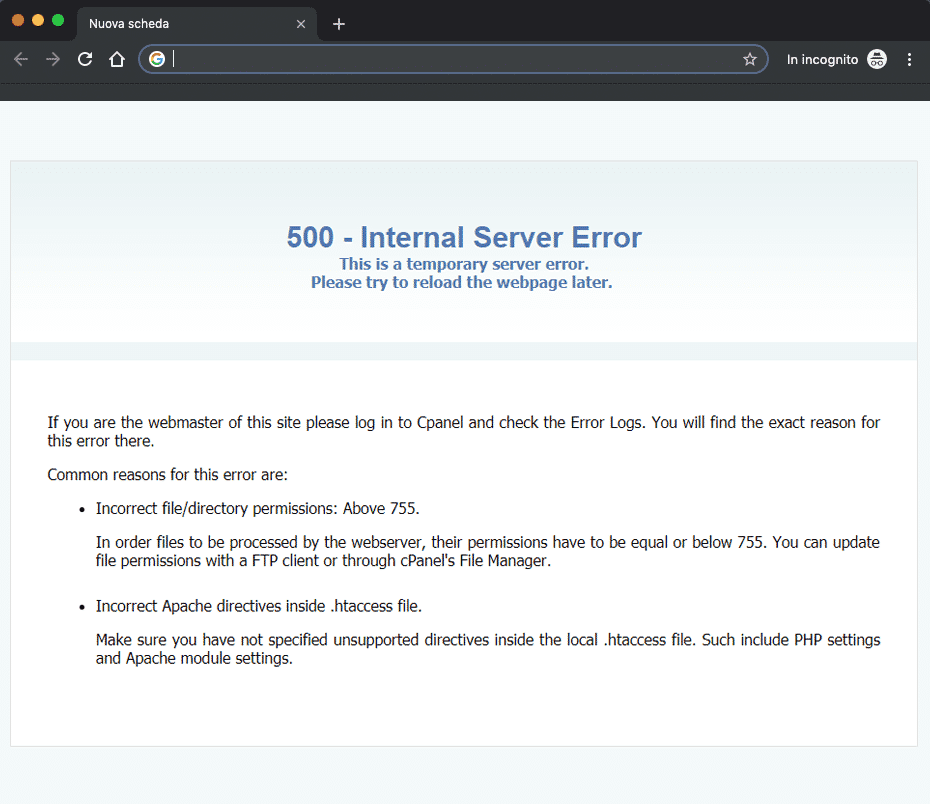 Errore 500 Internal Server Error