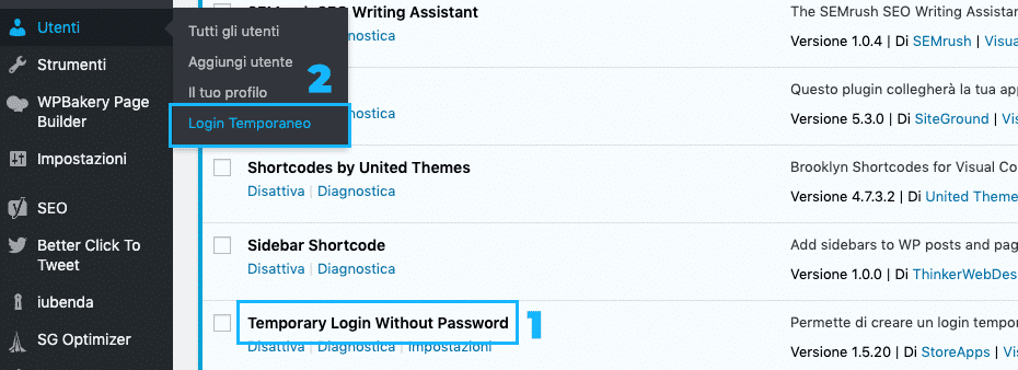 Temporary Login Without Password | Dashboard | Account amministratore