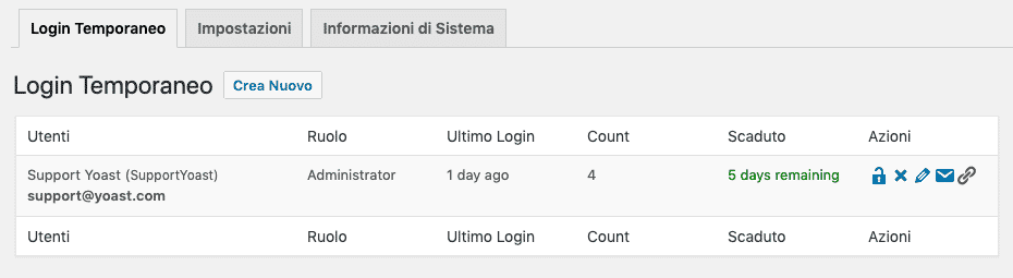 Temporary Login Without Password | Schermata iniziale | Account amministratore
